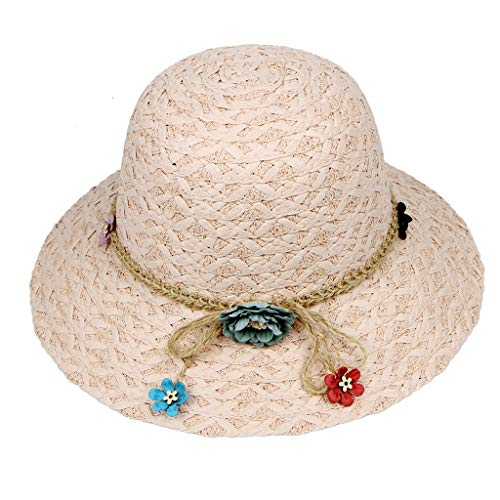 Shmei Summer Women Sun Protective Straw Hat Foldable Wide Brim Floppy Cap Beach Sun Hat (Pink)