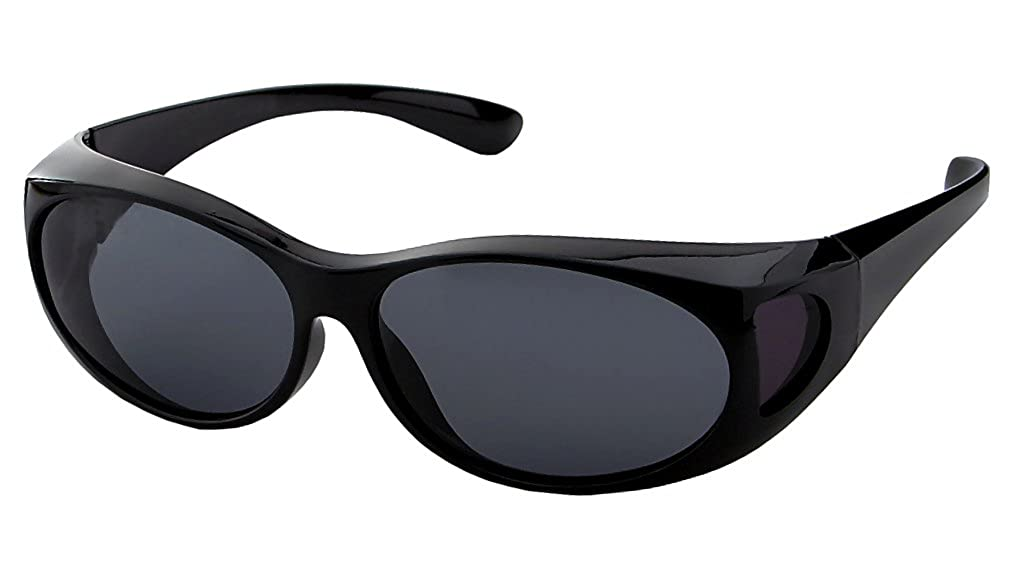 50b406ee80d5 Amazon.com: LensCovers Wear Over Sunglasses Small Black with Smoke Lens -  Fit Over Style: Clothing