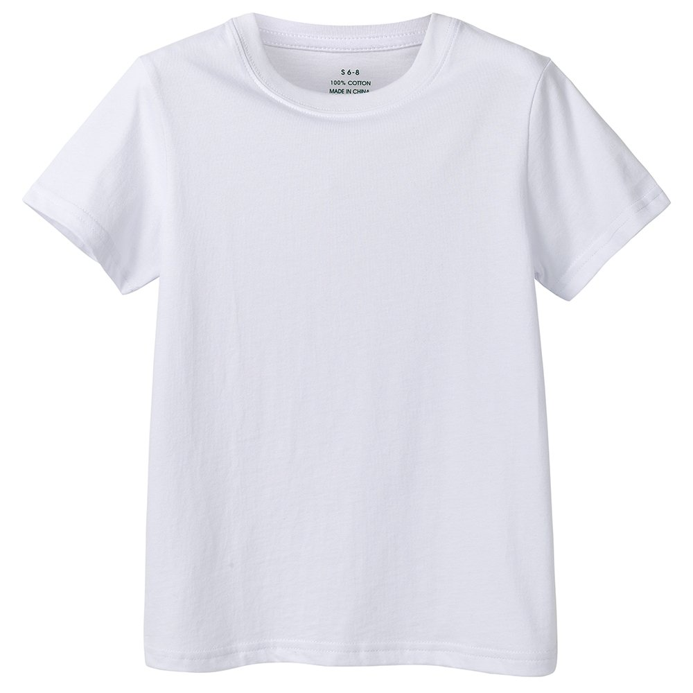 B.GKAKA Boys Undershirts Kids Solid Crew Tee 4 of Pack