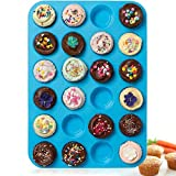 24 Cup Silicone Mini Muffin Tray Blue FREE POSTAGE