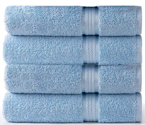 Cotton Craft - 4 Pack - Ultra Soft Oversized Extra Large Bath Towels 30x54 Light Blue - 100% Pure Ringspun Cotton - Luxurious Rayon Trim - Ideal for Daily Use - Each Towel Weighs 22 Ounces