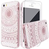 iPhone SE Case, iPhone 5 5s Silicone Case [with Tempered Glass Screen Protector], Yoowei Crystal Clear Tribal Henna Mandala Floral Totem Series Protective Case for iPhone SE/5/5s