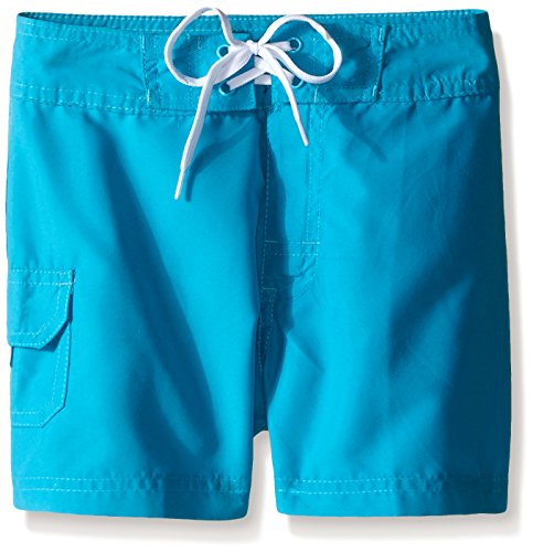 (Kanu Surf Little Girls' Sassy UPF 50+ Quick Dry Beach Coverup Boardshort, Aqua Solid, Medium (5))