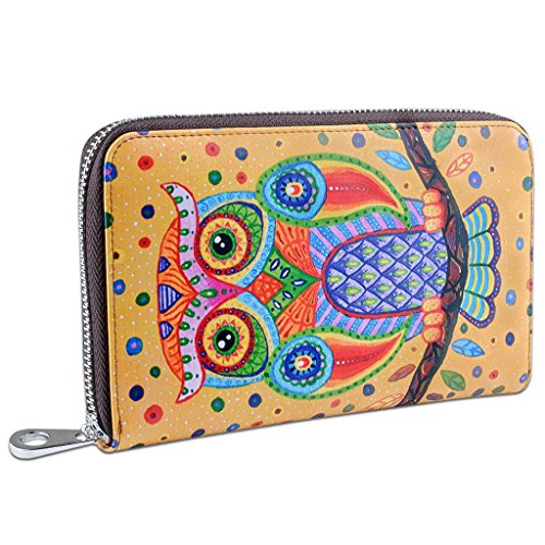 (YALUXE Women's Owl Print Real Leather Large Zipper Clutch Wallet Phone Passport Checkbook Holder Yellow)