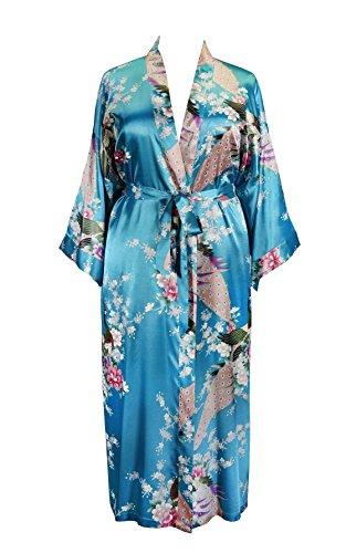 838 - Plus Size Peacock Japanese Women Kimono Sleep Robe, US Size 1X 2X 3X (Turquoise) ()