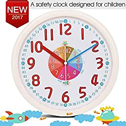 Kid Wall Clock Baby Nursery Large Wall Clock In Kid's Room Clock Bedroom Silent Non Ticking Analog Quartz Home 12 Colorful Read Learn Time for Kids Bedroon/Nursery Playroom/School Room(Beige)