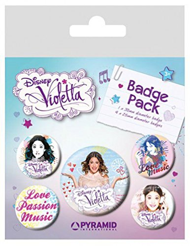 Violetta Badge Pack - Love Music, 1 X 38mm & 4 X 25mm Badges (6 x 4 inches)