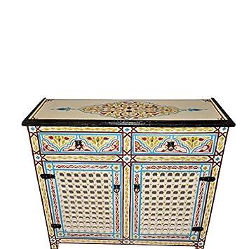 Handpainted Moroccan Moucharabi Design Dresser Console Storage Cabinet In  Beige