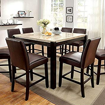247SHOPATHOME IDF-3823PT-9PC Dining-Room-Sets 9-Piece, Dark Walnut