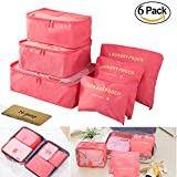 M-jump Travel Organizer Luggage Compression Pouches, 6 Set Travel Storage Bags Travel Multi-functional Clothing Sorting Packages (Watermelon Red)