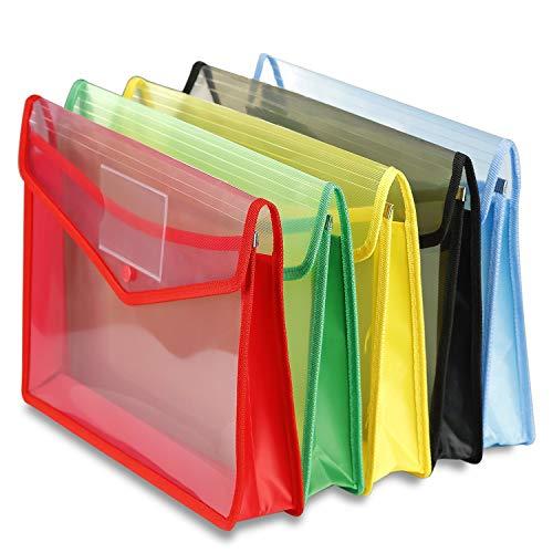 - Pensenion File Envelope 5 Assorted Colors Clear Document Folder with Snap Button Waterproof File Holder Document Organizer Transparent Pocket Folder