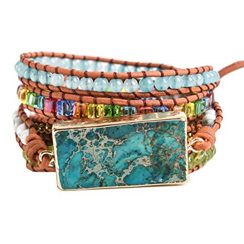 (YGLINE Handmade Natural Regalite Jasper Stone 5 Strands Wraps Boho Statement Women Bracelet Collection (Regalite 4))
