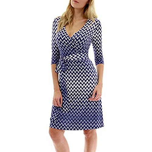 - Womens Casual V Neck 3/4 Sleeve 2018 Vintage A Line Wave Printed Dress with Belted (Blue, L)