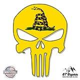 Punisher Skull Gadsden Flag - 20'' - Large Size Vinyl Sticker - for Truck Car Cornhole Board