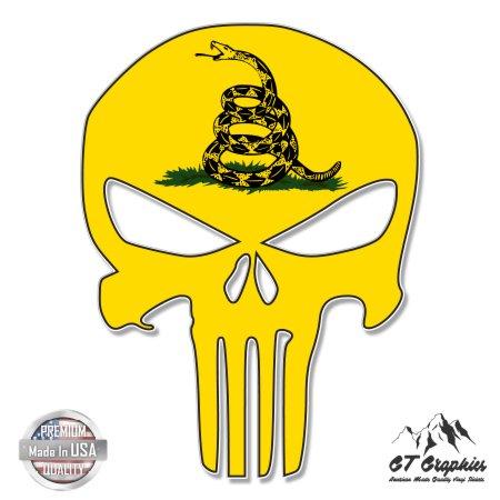 Punisher Skull Gadsden Flag - 20'' - Large Size Vinyl Sticker - for Truck Car Cornhole Board by GT Graphics