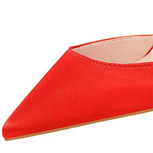 z&dw Sexy show fino tacón fino tacones altos tacones de Satén boca hueca cadena metálica con sandalias Rojo