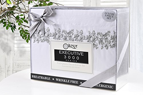 Super Soft Light Weight, 100% Brushed Microfiber, Wrinkle Resistant, Twin/Twin XL Duvet Cover, White with Grey Floral Lace Embroidery Pillowshams in Gift Box by Superior (Image #4)