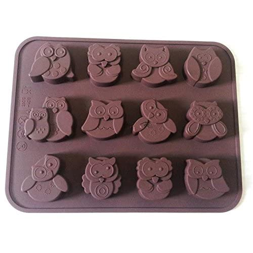Syeer Silicone 12-Owl Cake Decorating Candy Cookies Chocolate Soap Baking Molds Brown