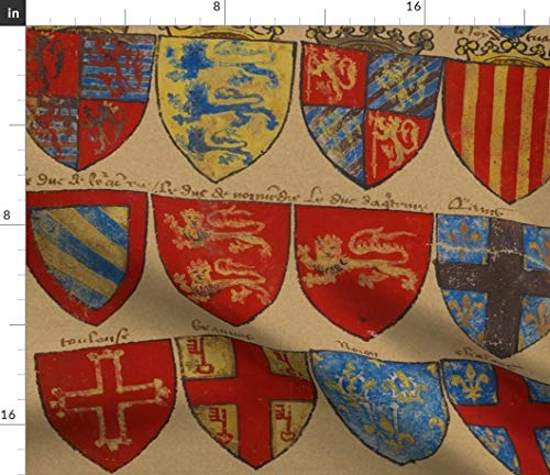 Red Royal Shields Fabric - Royal Battle Shield Royal Knights Medieval Castle Antique Parchment Shield Print on Fabric by The Yard - Sport Lycra for Swimwear Performance Leggings Apparel Fashion