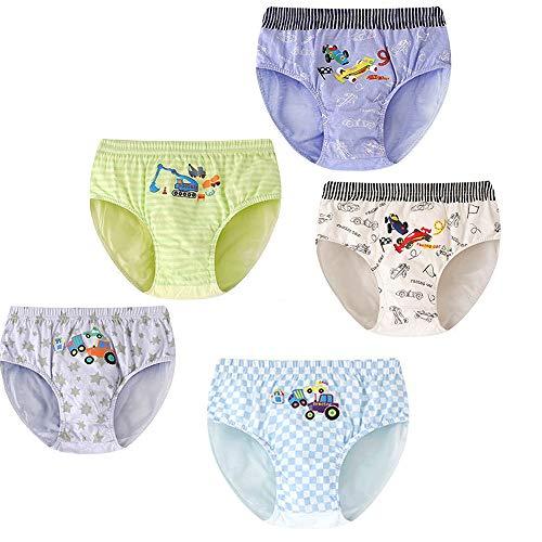 Sammious Boys Underwear Briefs, Pack of 5 Cotton Toddler Shorts Underpant Striped Truck Pattern Toddler Kids Boy Toddler Boxer Briefs 2-12 Years (6-7 Years, Multicoloured)