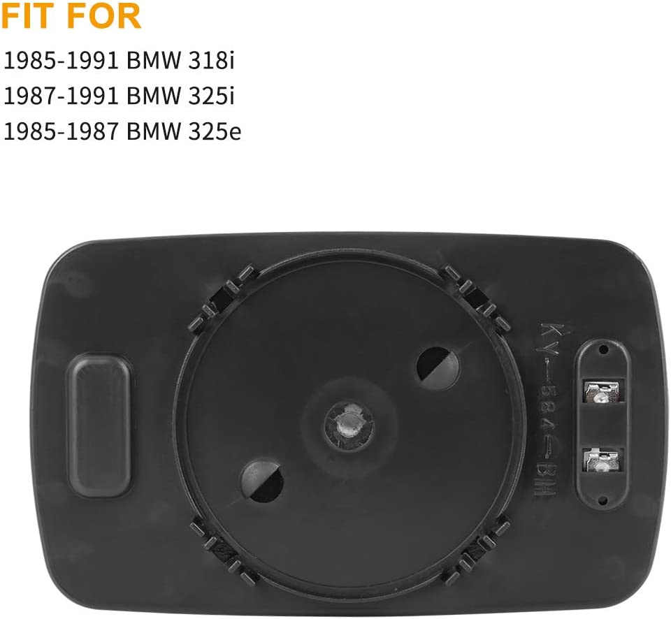 X AUTOHAUX Mirror Glass Heated with Backing Plate Driver Side Left Side Rear View Mirror Glass for BMW 318i 325i 325e