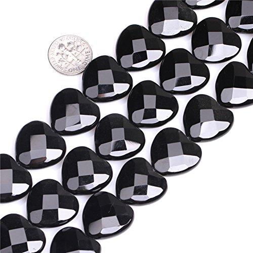 - JOE FOREMAN 20mm Black Agate Semi Precious Gemstone Heart Shape Faceted Loose Beads for Jewelry Making DIY Handmade Craft Supplies 15