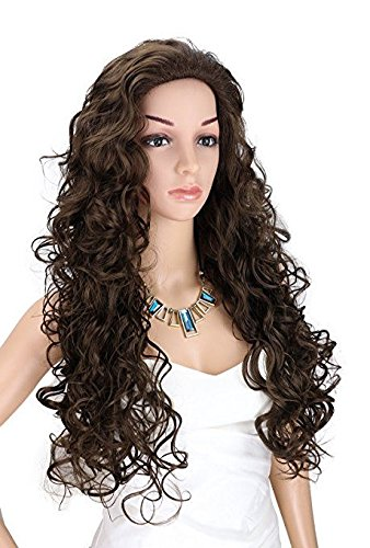 Kalyss Long Dark Brown Wigs for Women Heat Resistant Curly Wavy Synthetic Fiber Cosplay Costume Full Hair Wig For Women,24 inches 0.66lb -