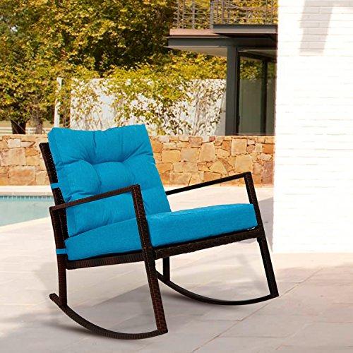Weather Wicker Rocker (Kinbor Rattan Rocker Chair Outdoor Garden Rocking Chair Wicker Lounge w/ Cushion (Blue))