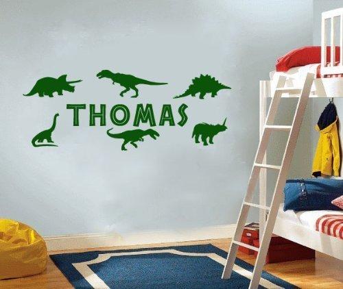 Wall Art Desire® PERSONALISED NAME & DINOSAURS BEDROOM VINYL WALL ...