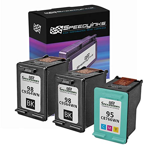 Speedy Inks Remanufactured Ink Cartridge Replacement for HP 98 C9364WN & HP 95 C8766WN (2 Black, 1 Color, ()