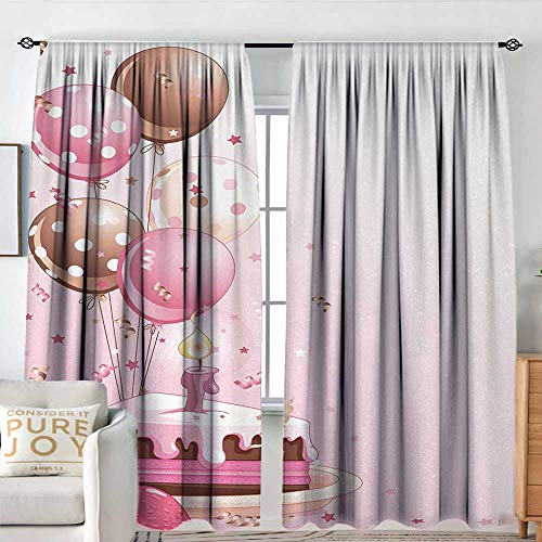 Petpany Bathroom Curtains Birthday,Strawberry Pink Slice of Cake Candle Dotted Balloons and Confetti Celebration,Pink Tan Cream,Drapes Thermal Insulated Panels Home décor 100