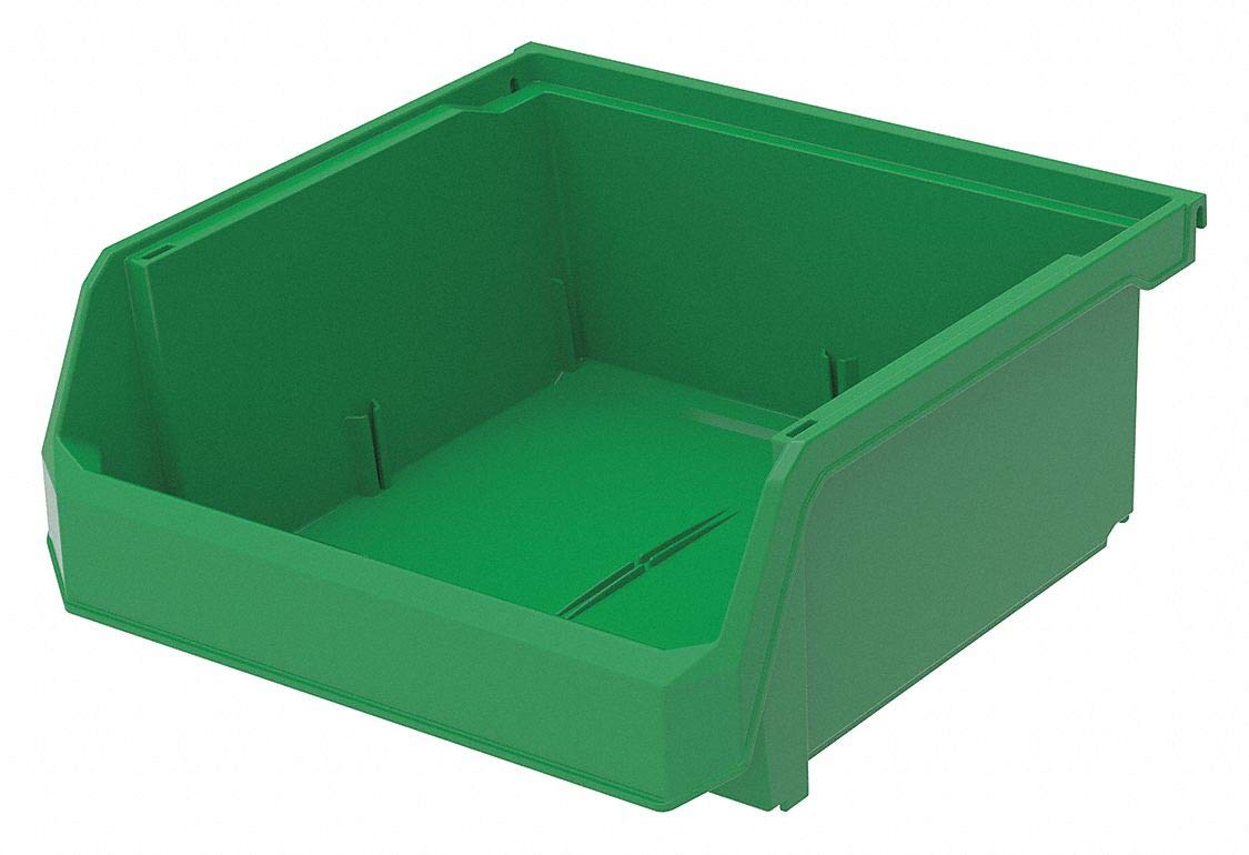 Hang and Stack Bin, Green, 11'' Outside Length, 11'' Outside Width, 5'' Outside Height pack of 5