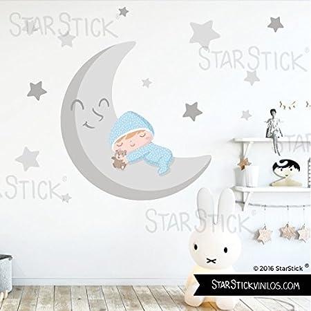 StarStick - Vinilo bebé niño - Bebé en la luna gris y Azul 70x50 cm- T0- Basico