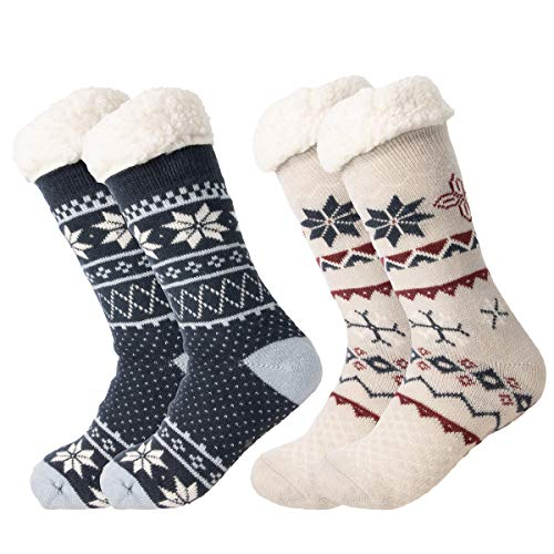 Treehouse Knit (2 Pack) Womens Thick Knit Sherpa Fleece Lined Thermal Fuzzy Slipper Socks With ()