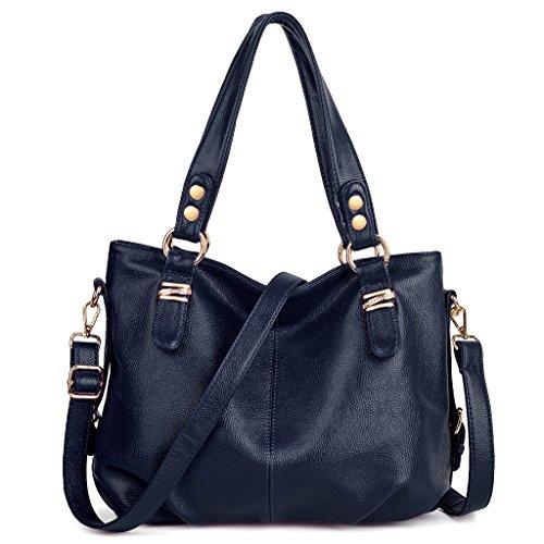 UTO Women Handbag Large Capacity PU Leather Purse Hobo Style Shoulder Bag Blue (Blue Leather Handbags)