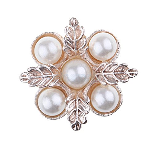 Crystal Faceplates (10x Gold Pearl Crystal Alloy 24mm Five Diamond Grand Faceplate Cute Buckles)