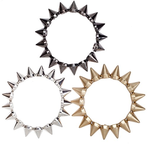 Set of 3 Punk Style Chunky Metal Color Bracelets Bangles With Spikes Studs - Stud Bangle