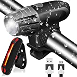 Actionpie Bike Light USB Rechargeable 1500mA Powerful Waterproof TAIL LIGHT, LED Front and Back Rear Lights Easy To Install Mountain Bicycle Headlight and Taillight Set Super Bright