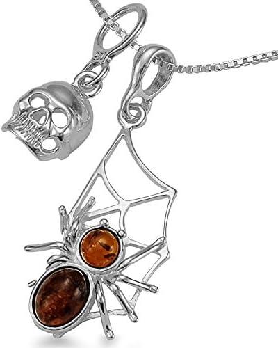 Spinnennetz Kette Bernstein Anhänger mit Totenschädel Kettenanhänger - 3 teiliges Schmuck Set mit Collier Halskette 40 45 50 55cm Geschenkbox #1735