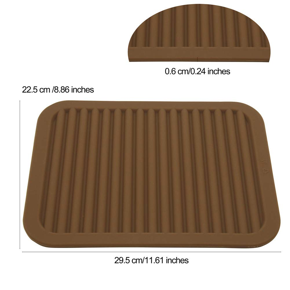 Lucky Plus Silicone Hot Mats and Trivets for Hot Dishes and Hot Pots Tables Spoon Rest Small Drying Mats Set of 2 Color Brown Pot Holders Hot Pads for Countertops