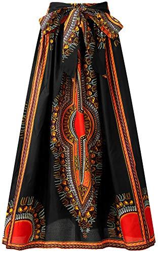 (Shenbolen Women African Print Skirt Ankara Maxi Skirt Dashiki Skirt(One Size A))