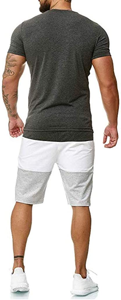 Mens 2 Piece Outfit Sport Set Short Sleeve Summer Leisure Casual Short Thin Sets