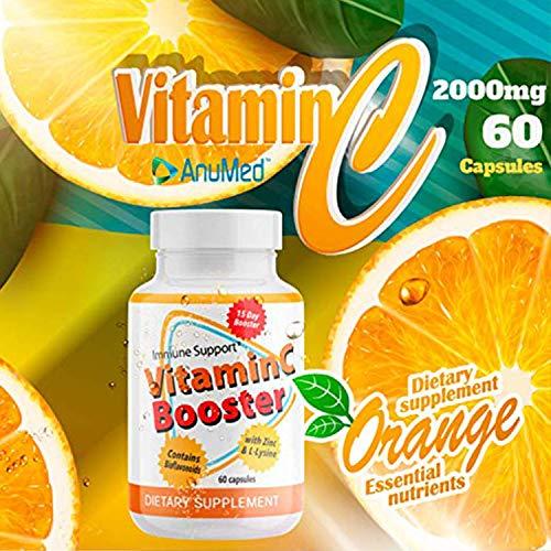 (3-Pack) Anumed Vitamin C-2000mg + Zinc + L-Lysine + Bioflavonoids | Maximum Immune System Booster (180 Capsules) Daily Essential Nutrients |High Antioxidants | Gluten-Free| Non-GMO | Vegan-Friendly