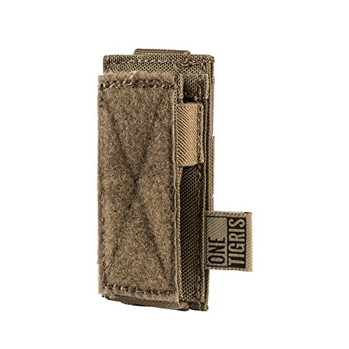 OneTigris Single/Double/Triple Pistol Mag Pouch with Front Loop Panel for Glock M1911 92F Magazines 40mm Grenade (Single-Stack, Coyote Brown) (Loop Holster Single)