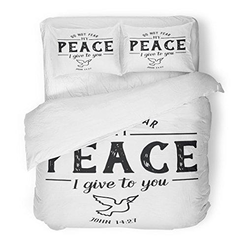 SanChic Duvet Cover Set Do Not Fear My Peace I Give to You Christian Hand Lettering Bible Scripture Emblem Dove from Book Decorative Bedding Set 2 Pillow Shams King Size by SanChic