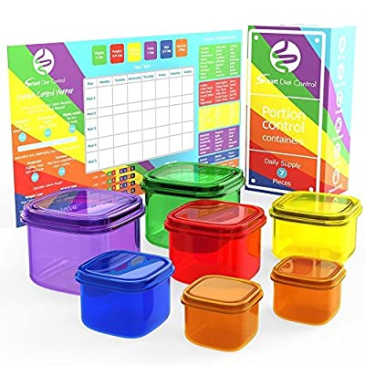 Smart Diet Control - 7 Piece Portion Control Containers Kit with 21 day Meal Planner & Guide Leak Proof Microwave and Dishwasher Safe Multi-Colored System