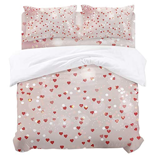 Halo Daybed Bedding - Duvet Cover Sets - Happy Valentine's Day Romantic Heart Halo 4 Piece Full Bedding Sets Soft Microfiber Bedspread Comforter Cover and Pillow Shams for Adult/Children/Teens