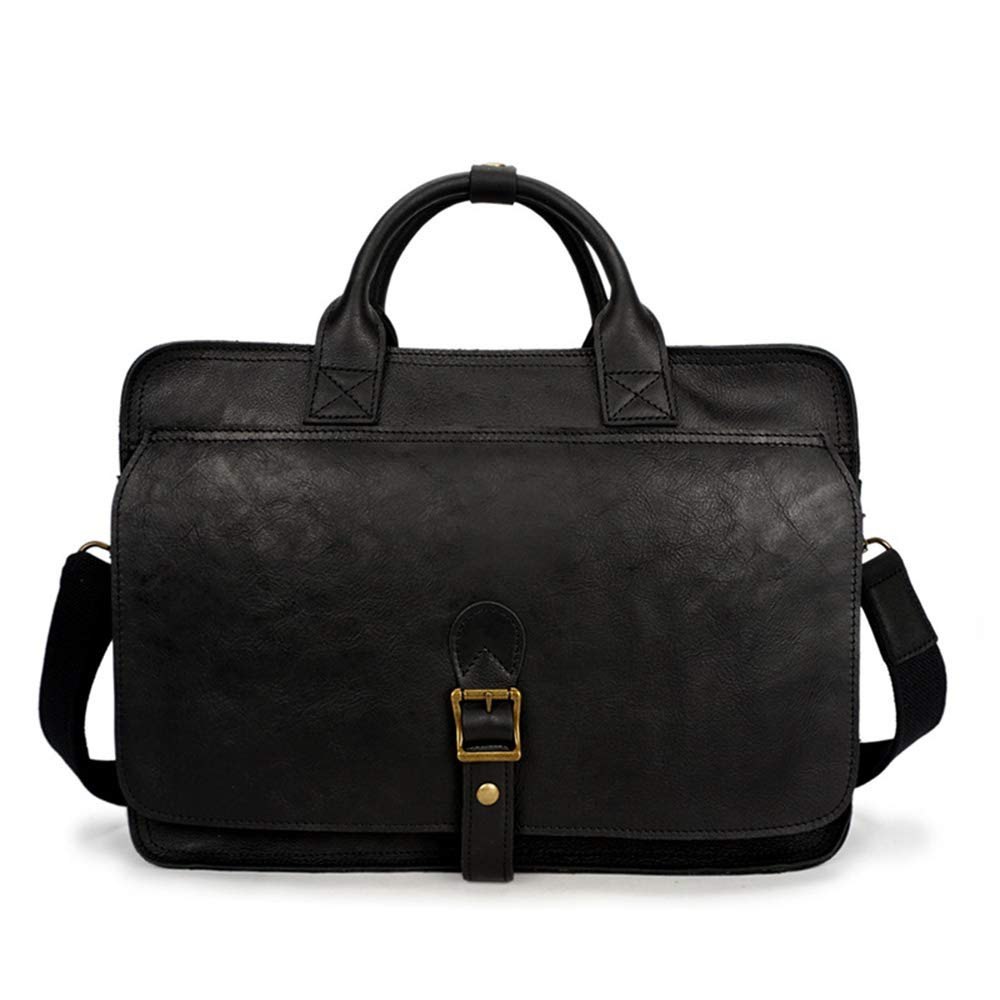39x11x30cm Briefcase Black//Brown Color : Black MLMHLMR Mens Tote First Layer Leather Casual Briefcase Crazy Horse Leather Shoulder Crossbody Bag