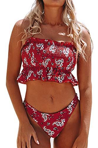 CUPSHE Women's Smocked Green and Monstera Ruffled High Waisted Bikini (X-Small, Red)