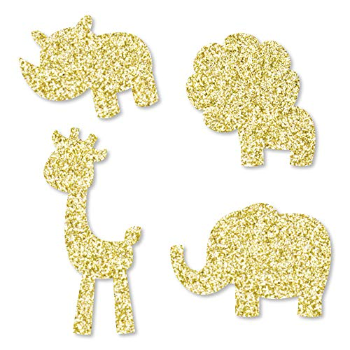(Gold Glitter Lion, Giraffe, Rhino and Elephant - No-Mess Real Gold Glitter Cut-Outs - Safari Jungle Baby Shower or Birthday Party Confetti - Set of 24)